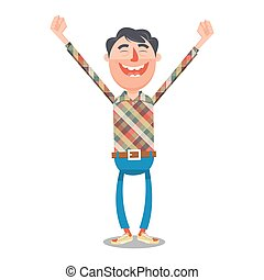 Man rejoices with hands up cartoon vector