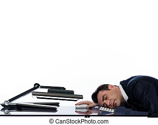 Man relationship with computer sleeping tired concept