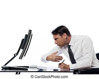 Man relationship with computer spy concept