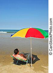 Man relax beach