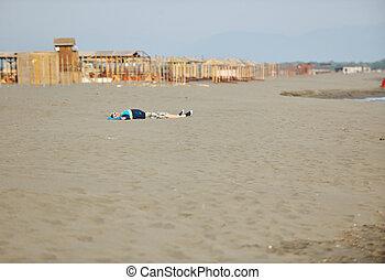 man relax on beach