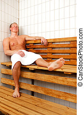 Man Relaxing in Sauna