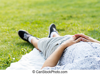 man relaxing in the park
