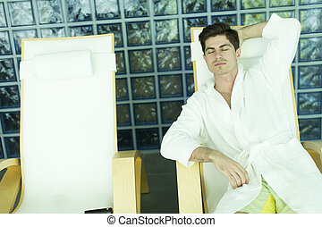 Man relaxing in the spa