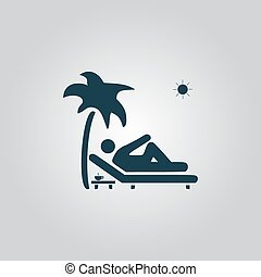 Man relaxing on a deck chair under palm tree and standing...