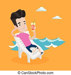 Man relaxing on beach chair vector illustration. - Young...