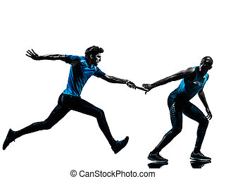 man relay runner sprinter silhouette - two men relay running...