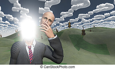 Man removes face showing lightn in landscape with question...