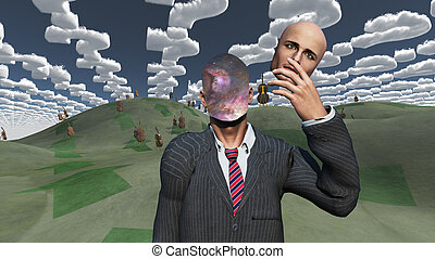 Man removes face shows inner space in landscape with question shaped clouds and many cellos