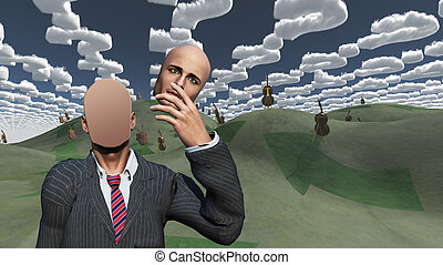 Man removes face showsblank surface in landscape with question shaped clouds and many cellos