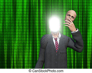 Man removes face to reveal inner light before binary streams