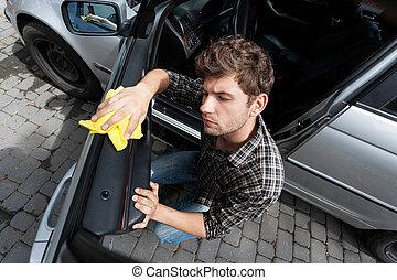 man, rensning, a, bil