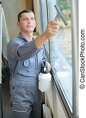 man, rensning, fönster, inomhus