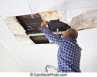 Man repairing collapsed ceiling. Ceiling panels damaged huge...