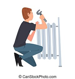 Man Repairing Radiator or Installing Heating, Home Renovation, Male Construction Worker Character with Professional Equipment Vector Illustration