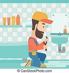 Man repairing sink. - A hipster man with the beard sitting ...