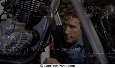 Animation of mathematical equations with man sitting on the floor repairing his motorbike. Digital composite video.