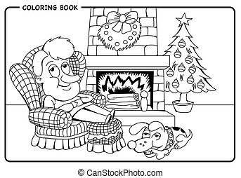 Man resting in the living room with his dog next to the burning fireplace and the Christmas tree - Coloring draw. Vector image