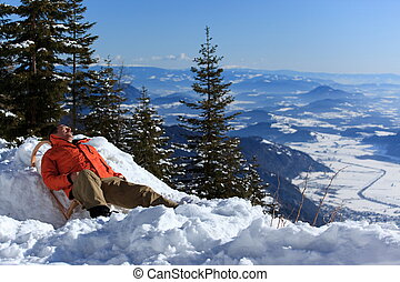 Man resting in the snow