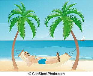 illustration of a man resting on a hammock