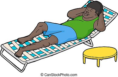 Man Resting on Deck Chair