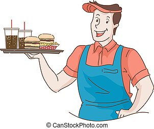 Man Retro Waiter Carrying Fast Food Tray