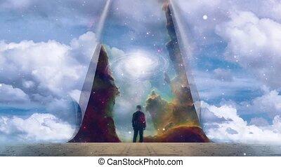Man reveal galaxy. Surreal landscape