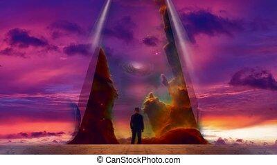 Man reveals the sky. Galaxy in purple clouds