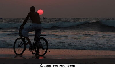 man ride bicycles outdoors