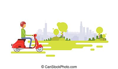 Man Ride Electrical Scooter Nature Background Retro Electric Transport