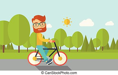 Man riding a bicycle.