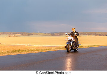Man riding a motorcycle