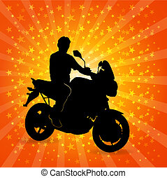 Man riding a motorcycle.
