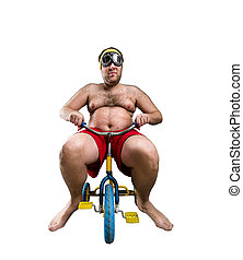 Man riding a small bicycle