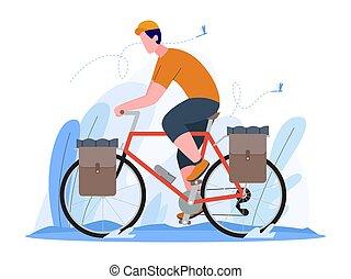 man riding a touring bike vector illustration
