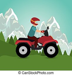 man riding atv sport landscape background