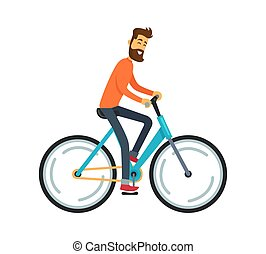 Man Riding Bicycle Icon Vector Illustration