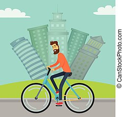 Man Riding Bicycle in City on Road, Cityscape