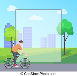 Man Riding Bicycle in City Park, Colorful Banner