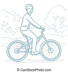 Man riding bicycle in the park vector illustration