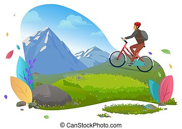 Man Riding Bicycle on Mountains Traveling Male