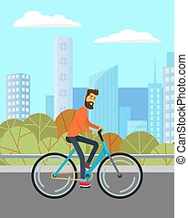 Man Riding Bicycle on Road in Park, City Landscape