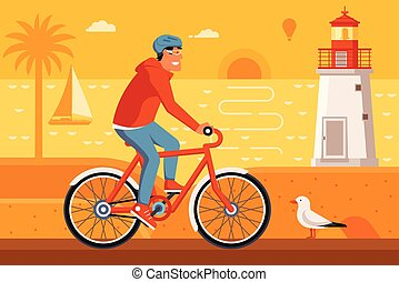Man Riding Bicycle on Summer Beach