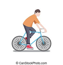 Man Riding Bicycle Poster Vector Illustration