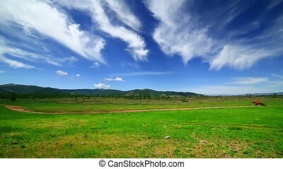 Man riding horse in Mongolian landscape, near Terkhiin...