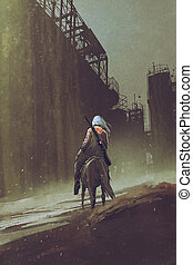 man riding horse walking in desert city - man with a gun...