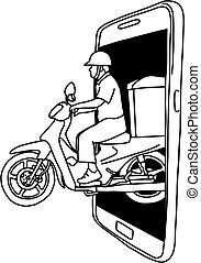 man riding motorcycle out of the big screen of smartphone vector illustration sketch doodle hand drawn with black lines isolated on white background. Delivery concept.