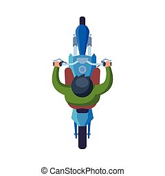 Man Riding Motorcycle, View from Above Flat Vector Illustration