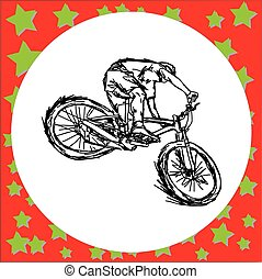man riding mountain bike - vector illustration sketch hand drawn with black lines, isolated on white background