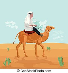 Man riding on a camel in Egypt desert Vector. Travel card cartoon character illustrations